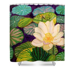 White Lotus Flower Shower Curtain
