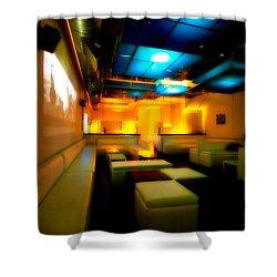 White Lounge Shower Curtain by Melinda Ledsome