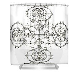 White Maltese Cross Shower Curtain