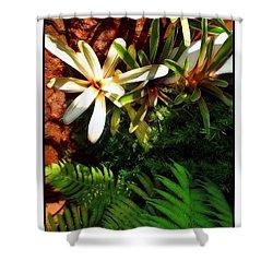 White Maui Flowers Shower Curtain by Joan  Minchak