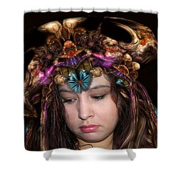 Shower Curtain featuring the digital art White Meat And Bones Tiara by Otto Rapp