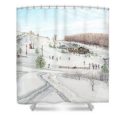 White Mountain Resort Shower Curtain by Albert Puskaric