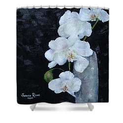 Shower Curtain featuring the painting White Orchid by Judith Rhue