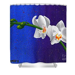 White Orchids Shower Curtain by Laura Forde