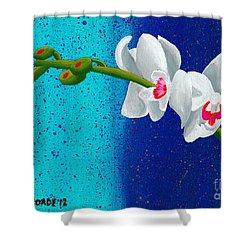 White Orchids On Blue Shower Curtain by Laura Forde