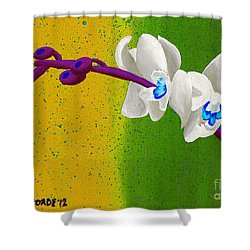 White Orchids On Yellow And Green Shower Curtain by Laura Forde