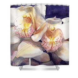 White Orchids Watercolor Shower Curtain