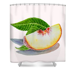 White Peach Slice  Shower Curtain by Irina Sztukowski