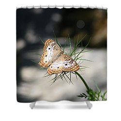 Shower Curtain featuring the photograph White Peacock by Karen Silvestri