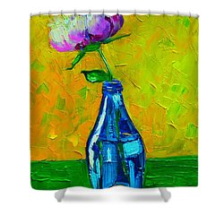 White Peony Into A Blue Bottle Shower Curtain by Ana Maria Edulescu
