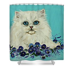 Shower Curtain featuring the painting White Persian In Pansy Patch Original Forsale by Bob and Nadine Johnston