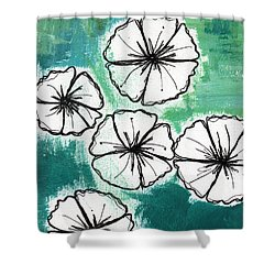 White Petunias- Floral Abstract Painting Shower Curtain by Linda Woods