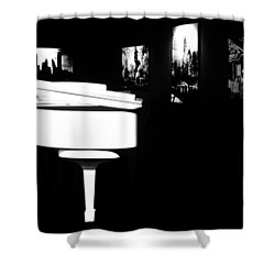 White Piano Shower Curtain by Benjamin Yeager