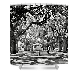 White Point Gardens At Battery Park Charleston Sc Black And White Shower Curtain