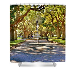 White Point Gardens At Battery Park Charleston Sc Hdr Shower Curtain
