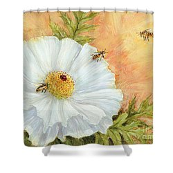 White Poppy And Bees Shower Curtain