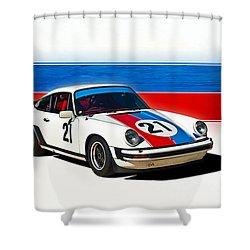 White Porsche 911 Shower Curtain