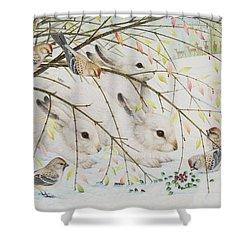 White Rabbits Shower Curtain