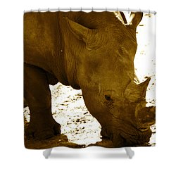 Shower Curtain featuring the photograph White Rhino In Sepia by AnnaJo Vahle