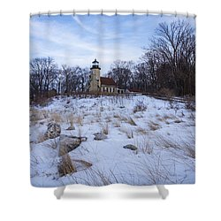 White River Lighthouse In Winter Shower Curtain