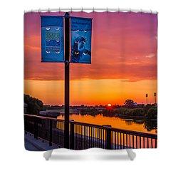 White River Sunset Shower Curtain