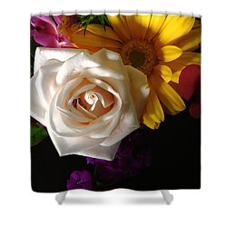 Shower Curtain featuring the photograph White Rose by Meghan at FireBonnet Art
