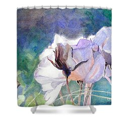 Shower Curtain featuring the painting White Roses In The Shade by Greta Corens
