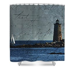 Shower Curtain featuring the photograph White Sails On Blue  by Jeff Folger