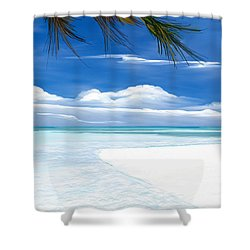 Shower Curtain featuring the digital art White Sand And Turquoise Sea by Anthony Fishburne