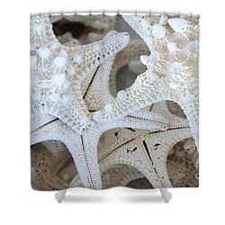 White Starfish Shower Curtain