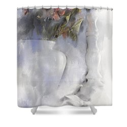 White Still Life Vase And Candlestick Shower Curtain