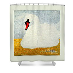 White Swan Lake Shower Curtain by Richard W Linford