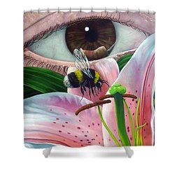 White Tailed Bumble Bee Upon Lily Flower Shower Curtain
