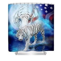 White Tiger Moon - Patriotic Shower Curtain by Carol Cavalaris