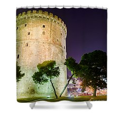White Tower In Salonica Greece Shower Curtain by Sotiris Filippou