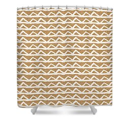 White Triangles On Burlap Shower Curtain