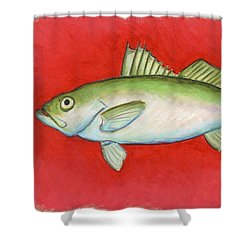 White Trout Shower Curtain