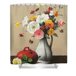 White Vase And Red Box Shower Curtain by Felix Elie Tobeen