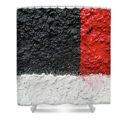 White Versus Black Over Red Shower Curtain by CML Brown