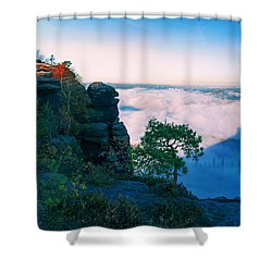 White Wafts Of Mist Around The Lilienstein Shower Curtain