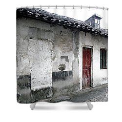 White Walls Red Doors Shower Curtain by Ivy Ho