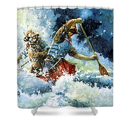 Shower Curtain featuring the painting White Water by Hanne Lore Koehler