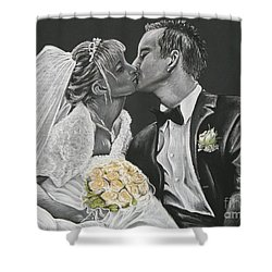 White Wedding Shower Curtain