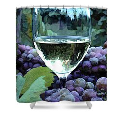 White Wine Reflections Shower Curtain by Elaine Plesser