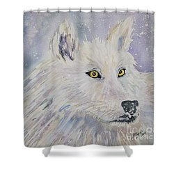 White Wolf Of The North Winds Shower Curtain by Ellen Levinson
