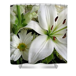 White Wonder Shower Curtain by Rory Sagner