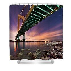 Whitestone Bridge Shower Curtain by Mihai Andritoiu