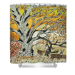 Shower Curtain featuring the painting Whitetails And White Oak Tree by Jeffrey Koss
