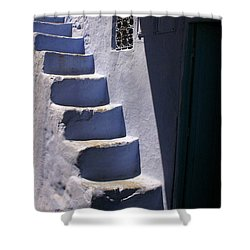 Whitewashed Steps In The Medina Of Asilah On Northwest Tip Of Atlantic Coast Of Morocco Shower Curtain