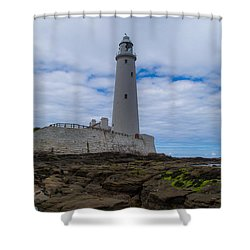Whitley Bay St Mary's Lighthouse Shower Curtain